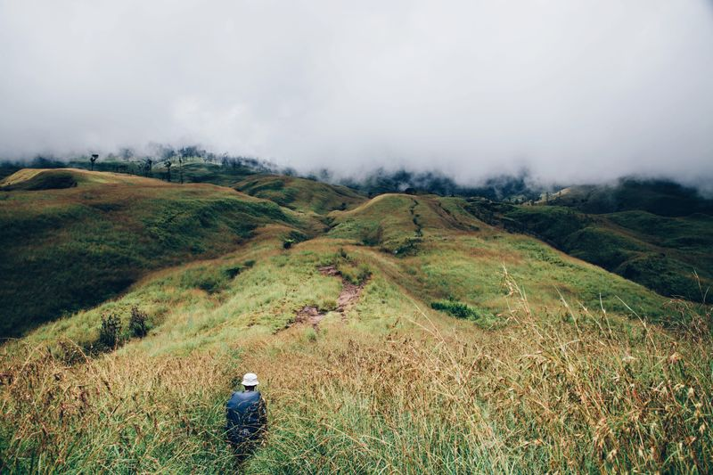 Trekking through wilderness near Mount Rinjani in Indonesia INDONESIA Rinjani Mountain Wilderness Adventure Exploring Nature Hiking Outdoors Active