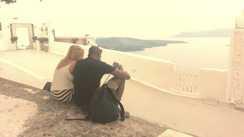 Beautiful People Beauty Couple - Relationship Fira Santorini Men Santorini, Greece Sitting Soft Lights Stolen Moments The Giant Togetherness My Year My View