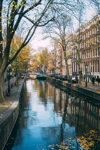 Amsterdam Netherlands Canal City Reflection Waterfront Outdoors Autumn Fall