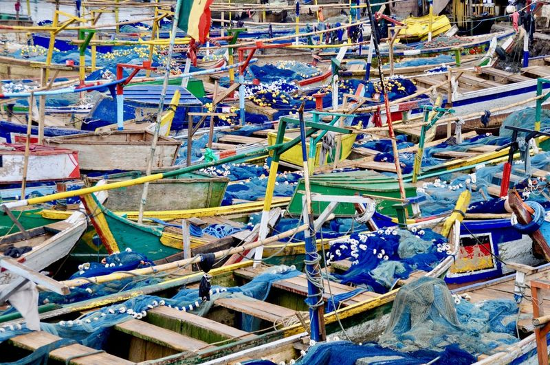 High angle view of boats at harbor
