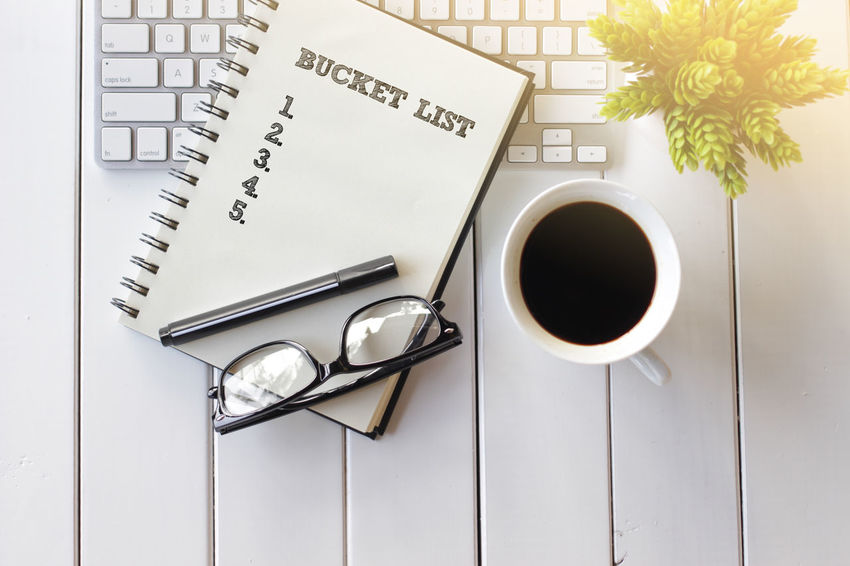 Top view notebook with keyboard and coffee cup writing Business Achievement Check This Out Motivation New Purpose Career, Challenge Concept Goal Improvmment Job Notebook Notebook Paper Objective Occupation Optimization Potential  Profession Solution Strategy Success Vision
