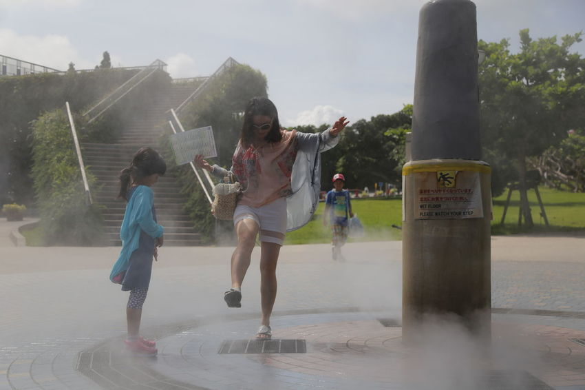 Day Enjoyment Girls Kids Motion Outdoors Park Play Playing Water