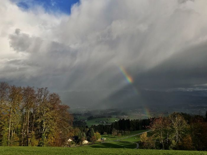 Crazy sky Nature Beauty In Nature Tranquility Cloud - Sky Tree Scenics Tranquil Scene Sky Weather Landscape Rainbow Field Idyllic Double Rainbow No People Day Outdoors Grass Storm Cloud EyeEm Nature Lover EyeEmSwiss Streamzoofamily