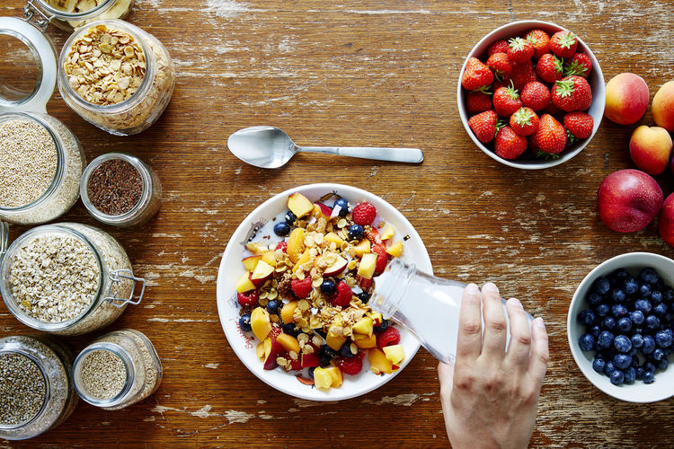 Blueberry Bowl Breakfast Day Food Food And Drink Freshness Fruit Granola Healthy Eating High Angle View Indoors  No People Table Wood - Material