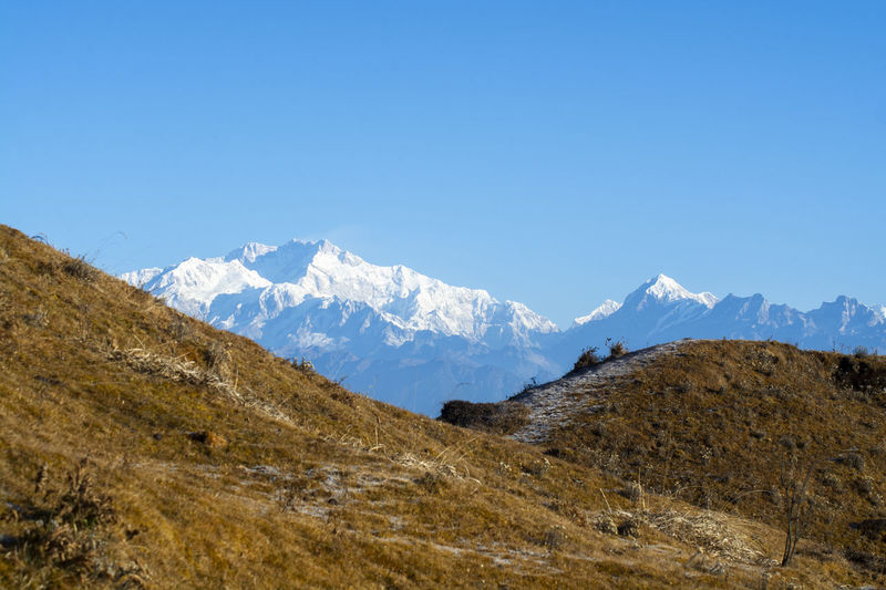 Mount Kanchenjunga Mountain Sky Environment Landscape Snow Scenics - Nature Tranquil Scene Beauty In Nature Mountain Range Tranquility Blue Nature Winter Clear Sky Cold Temperature Copy Space Non-urban Scene No People Idyllic Snowcapped Mountain Outdoors Mountain Peak Range Formation