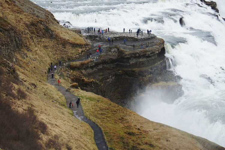 High angle view of cliff by sea at gullfoss waterfall iceland