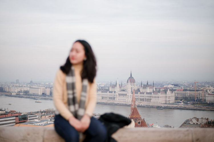 parliament house Travel Destinations Travel Photography Travel Fisherman's Bastion Perspective Cityscape City Life Budapest Budapest, Hungary Hungary City View  Focus On Background Only Women Adults Only Adult One Person One Woman Only Brown Hair Long Hair City People Outdoors