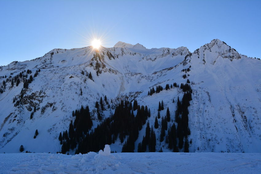 Sunrise Snow Cold Temperature Winter Mountain Snowcapped Mountain Outdoors Frozen Nature Beauty In Nature Mountain Range No People Scenics Landscape Travel Destinations Day Polar Climate Sky Tree Shades Of Winter