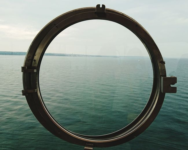 Porthole Porthole View Window Illusion Floating Solent Forts English Channel Looking Back No Mans Fort Water Circle Sky Close-up Geometric Shape