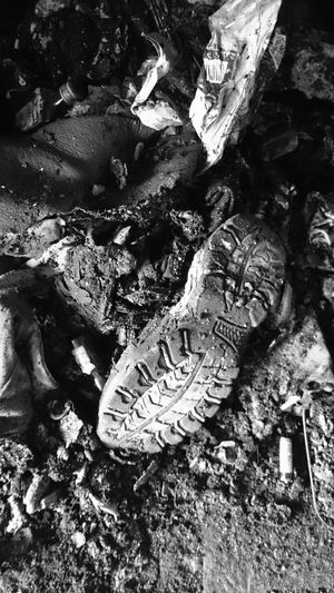 Day High Angle View No People Outdoors Sand Full Frame Nature Close-up Shoe Sole Leftovers Ashes Rubbish Black & White Monochrome Photography Out Of The Box Dirty Worn Out Shoes