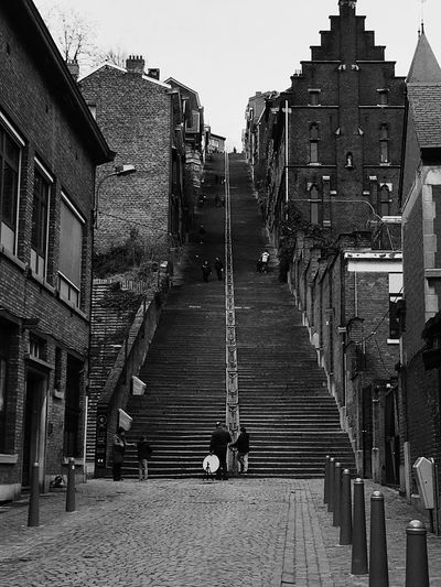 Tourist Attraction  Tourism Old Buildings Taking Photos Montagne De Bueren Photography Blackandwhite Architecture Built Structure Building Exterior Sky Staircase The Way Forward Direction Steps And Staircases Building City
