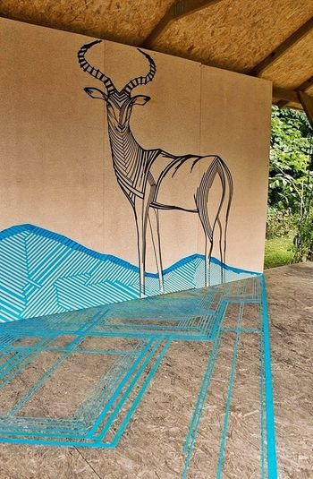 Impala antelope created with tape - Tape Art TAPE OVER Getting Inspired ArtWork