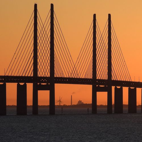 Check This Out Hello World Taking Photos Enjoying Life Bridge öresundsbron Skåne Sweden Dusk Sunset Orange Color Detailed Chimney Smoke Windcraft