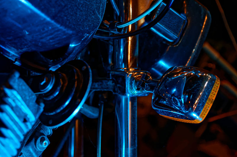 Blue Close-up Detail Equipment Focus On Foreground Illuminated Machine Part Man Made Object Metal Metallic Motorbike Motorcycle No People Part Of Selective Focus Shiny Yamaha