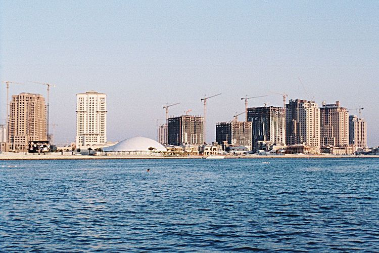 Olympus OM1 Qatar 2009year City Building Exterior Sea Clear Sky Skyscraper No People Day Doha Zuiko