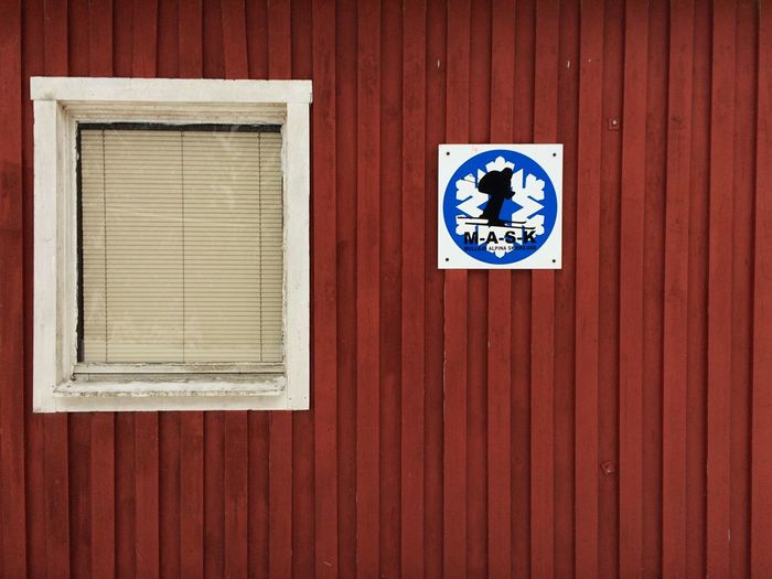 Information sign on window of building