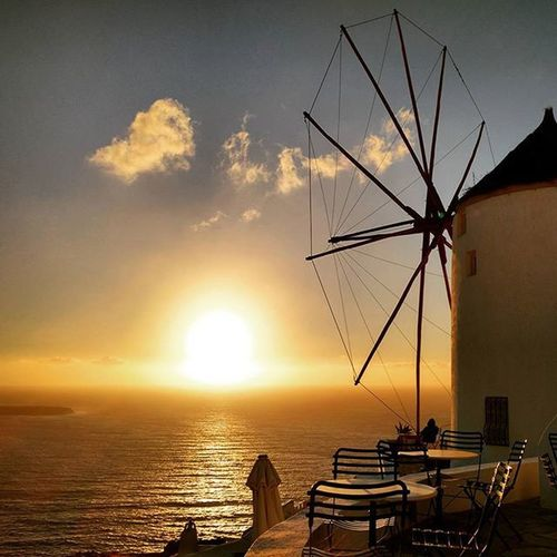 Point of reference. Sunset Santorini AndronisExperience Windmill