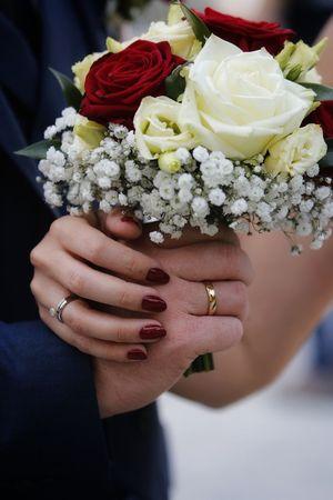 Human Hand Bride Flower Wedding Dress Women Bouquet Young Women Wedding Portrait Holding Wedding Ring
