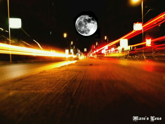Night Long Exposure Motion Speed Light Trail Traffic Illuminated Transportation Blurred Motion Car Street Light On The Move No People Road Outdoors Sky Giant Moon