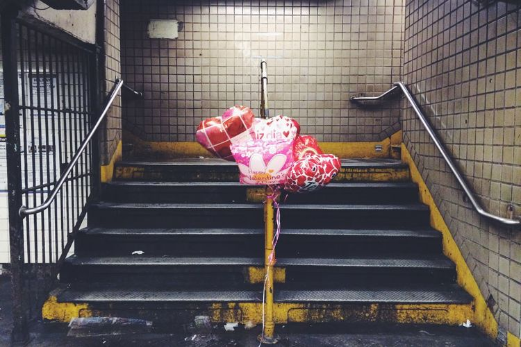 NYC New York New York City Subway Empty Balloons Minimalism Minimal Underground Stairs Steps Subway Station Symmetrical Symmetry Yellow Lines