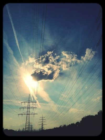Power Lines Sun_collection Sky_collection Sun Vs Clouds