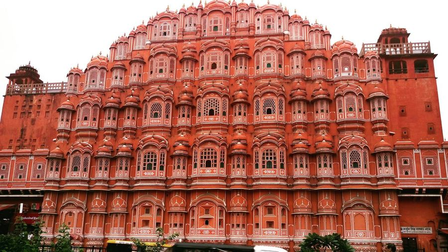 Hawa Mahal, Jaipur Architecture Built Structure Building Exterior Low Angle View Window Carving - Craft Product Façade EyeEm Best Shots Eye4photography  Vibrant Color City The Past Historic Architecture Architectural Feature Travel Destinations Famous Place History Red Outdoors Arch Tall - High Sky Day