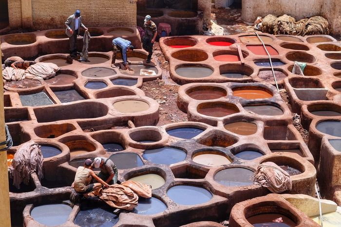 Fes Maroc High Angle View Real People Day Outdoors Adult People Adults Only Only Men Travel Marocco Africa Afrique tannery Tannery Tannerie In Fez Fez