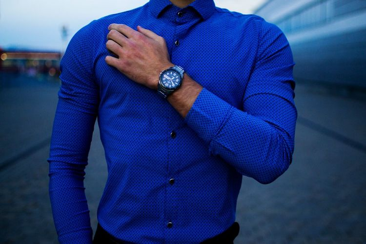 Blue Men Casual Clothing Well-dressed Focus On Foreground City Handsome