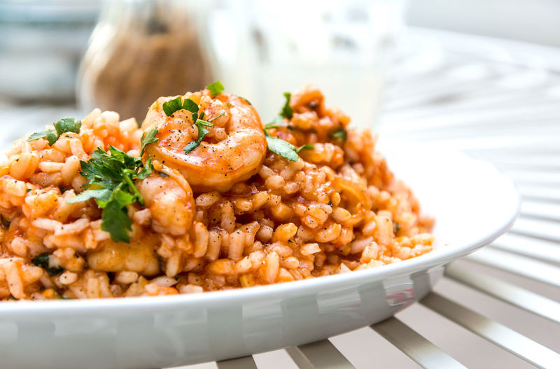 Close-up of risotto in plate on table