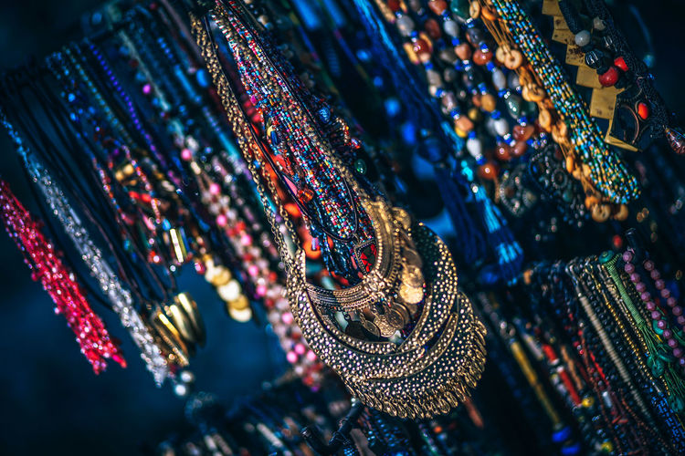 Full frame shot of multi colored jewelry for sale
