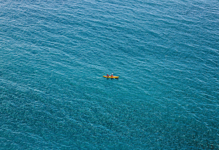 High angle view of blue sea