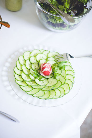 Catering Catering Food Catering Service Close-up Cucumber Day Food Food And Drink Freshness Fruit Green Healthy Eating High Angle View Indoors  No People Plate Ready-to-eat Serving Dish