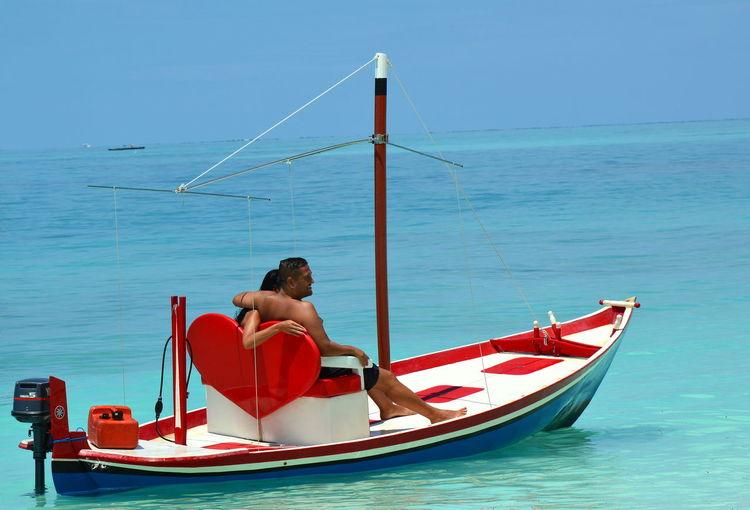 Azure Sky Azureblue Boat Calmness Couple Courting Happiness Heart ❤ Honeymoon In Love ❤ Love Moored Sea Serenebeauty Sweetheart Valentine