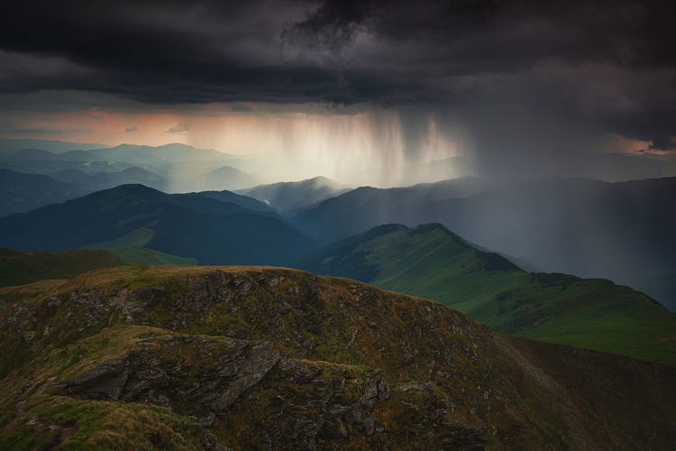 Scenic view of mountains during monsoon