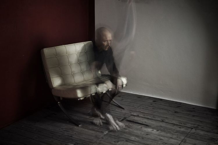 Tempus est....... Apparition Fleeting Memory Time One Person Isolation Solipsism Existentialism Existence Stark Multiple Exposure Blur Movement Self Portrait Portrait Minimal Minimalism Modernity Mental Health  Barcelona Chair