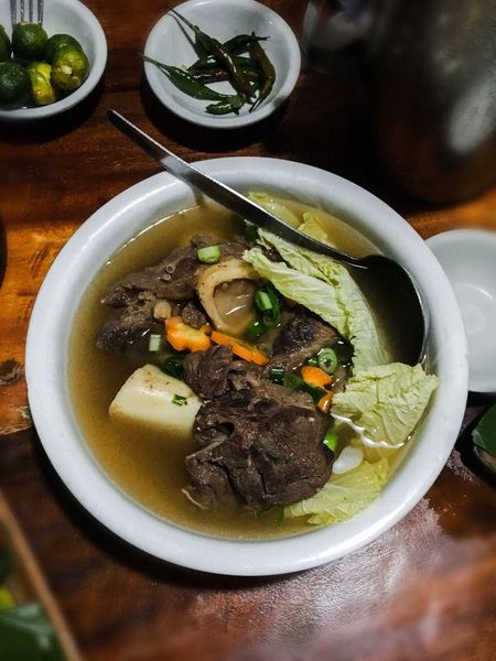 Bulalo or beef stew Bowl Soup Food Indoors  Ready-to-eat Table High Angle View Freshness Serving Size No People Healthy Eating Close-up Plate Meat Day BULALO Beefstew Beef Soup