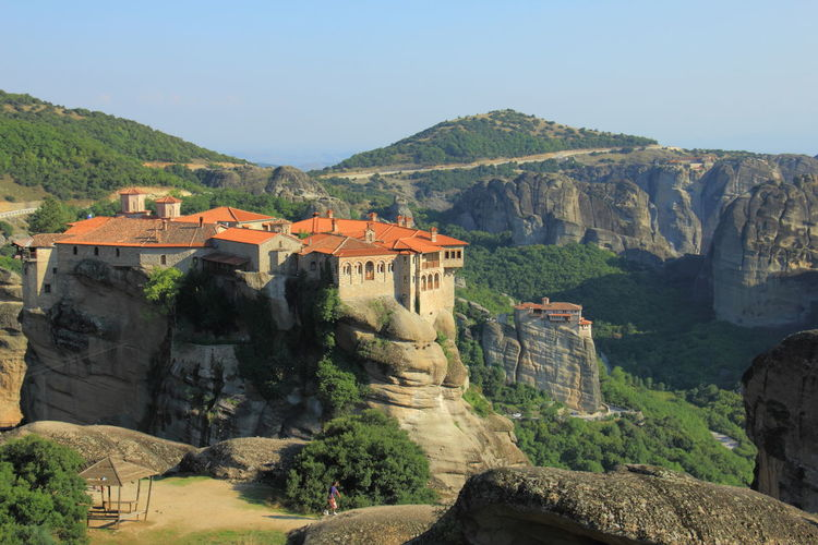 The Monastery of Varlaam sat on the steep boulder in Meteora, Greece. METEORA, GREECE Meteora Monasteries Monastery Travel Architecture Clear Sky Greece History Meteora Greece Monastery Of Varlaam Mountain Relegion Tourism Tourism Destinations Travel Destinations