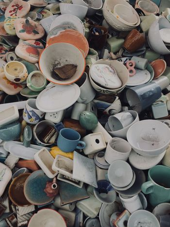 Antique Seramic Cups Large Group Of Objects Choice Variation High Angle View Abundance Multi Colored Full Frame Still Life No People For Sale Day Collection Art And Craft Backgrounds Market Outdoors Retail  Close-up Stack Variety