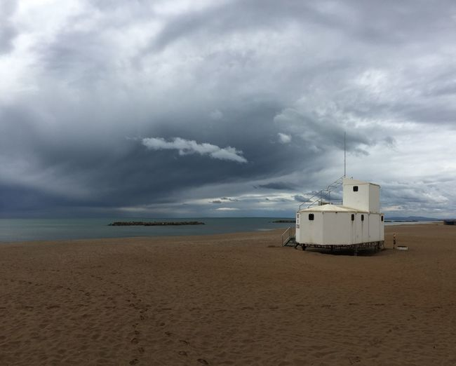 Beach Beachphotography Sea Méditerranée France Hérault SudDeFrance Valras-Plage Clouds And Sky Clouds Poste De Secours The Great Outdoors - 2016 EyeEm Awards