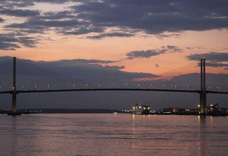 Sunset over Dartford Bridge.