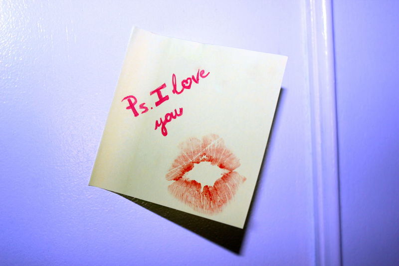 Close-up Communication Day Door Handwriting  Indoors  Kiss Lipstick Stain Love Note No People Paper Pink Color Post It Note Ps I Love You Reminder St Valentine's St Valentine's Day Text Place Of Heart Inner Power This Is Family