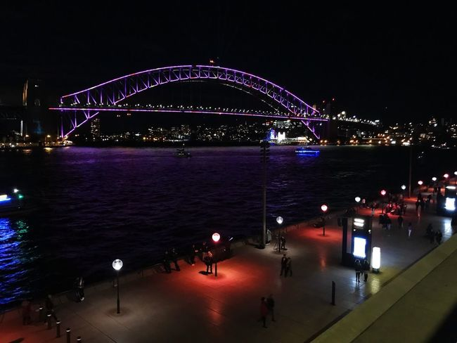 #Vivid_2018 Night Illuminated Architecture Water Built Structure City Arts Culture And Entertainment Sky Bridge Travel Destinations Outdoors People Light