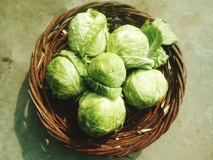 cabbage in basket Cabbages Cabbage Roll Flower No Parson Garden Basket Food And Drink Freshness High Angle View Healthy Eating Food Green Color Indoors  Close-up Day No People