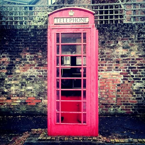 Telephone Booth Red Built Structure Communication Pay Phone Architecture Connection England Portsmouthphotographer Texture Brick