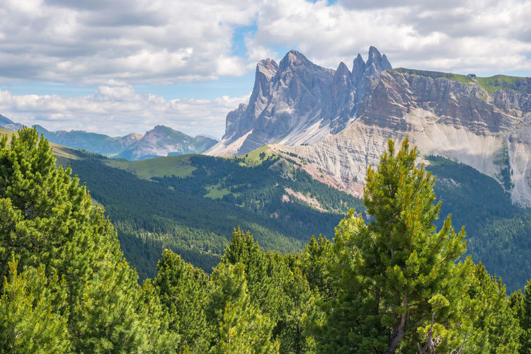 View at the dolomites odle mountains in italy