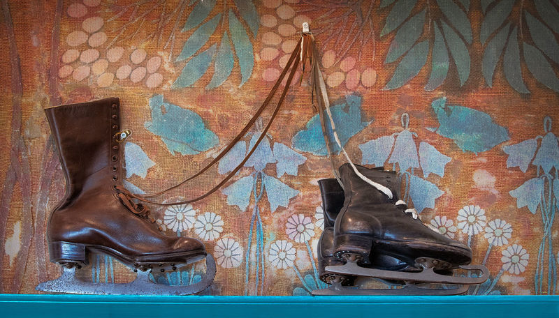 Ice shoes Indoors  No People Shoe Pattern Wall - Building Feature Brown Backgrounds Wood - Material Old Art And Craft Textured  Close-up Blue Full Frame Creativity Low Section Body Part Leather Mural