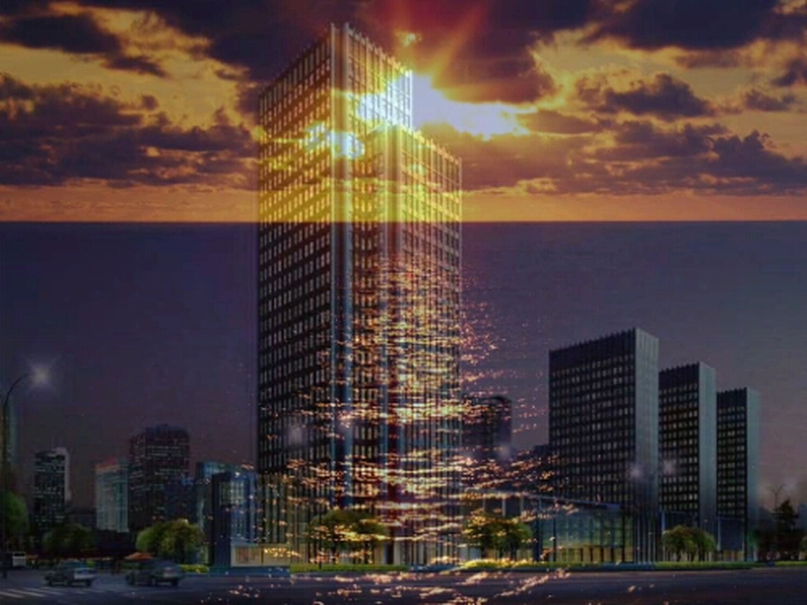 architecture, building exterior, built structure, city, sky, sunset, sea, skyscraper, cloud - sky, modern, water, office building, cityscape, tall - high, tower, horizon over water, cloud, urban skyline, illuminated, reflection