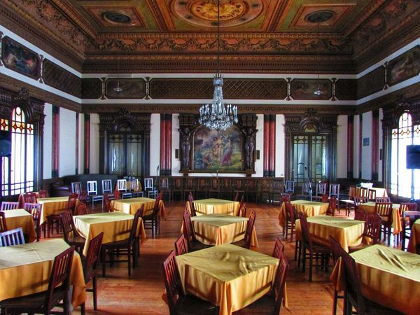 Architecture Ballroom Chair Chairs Chandelier Check This Out Day Decorated Dining Room Dining Table EyeEm Best Shots In A Row Indoors  Luxurious Luxury Natural Light No People Old Room  Ornate Salon Stained Glass Stained Glass Window Table Tables Wood Floor Food Stories