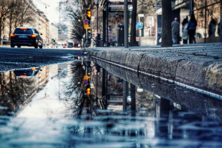 2019 Niklas Storm April Reflection City Water Road Car Street City Street Architecture Building Exterior Wet Puddle My Best Photo