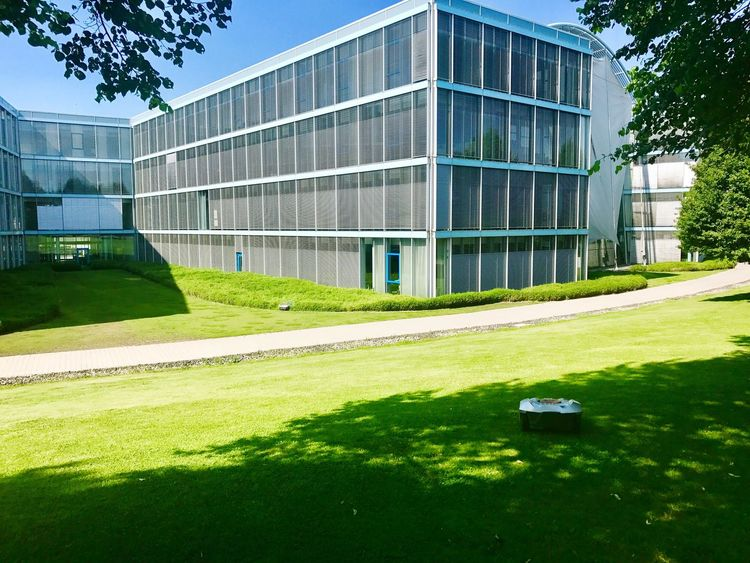 Lawn mower robot in front of modern office building Architecture Building Exterior Modern Grass Built Structure Lawn Tree Sunlight Green Color Day No People Clear Sky Outdoors City Sky Lawnmower Lawn Mower Robot Lawn Mowing Lawn Mower Robot